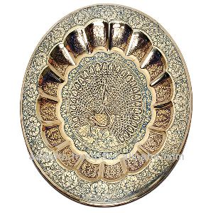 Decorative Hand Painted Embossed Brass Plate