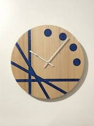 Handmade Modern Wall Clock With Stone Veneer