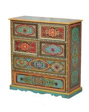 Indian Painted 6 Drawer Dresser