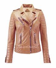 Womens Genuine Stylish Motorcycle Biker Leather Jacket