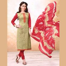 Cotton Embroidered Patch Work Suit