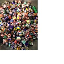 Chevron Glass Beads In Assorted Multi Coloured Designs Suitable