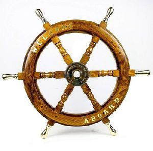 Antique Wooden Ship Steering Wheel