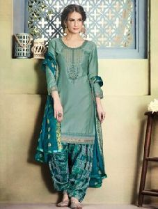 Casual Wear Cotton Silk Embroidery Work Patiala Suit