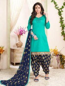 Cotton Panjabi Style Khatli Work Patiala Suit