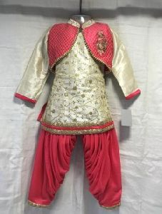 Golden Silk Casual Wear Embroidery Work Kids Patiala