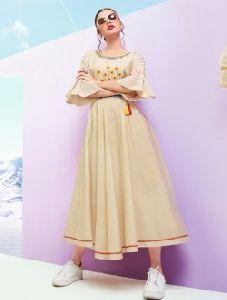 Khadi Cotton Regular Wear Embroidery Work A Line Kurti