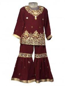 Maroon Georgette Festival Wear Embroidery Work Kids Sharara Suit