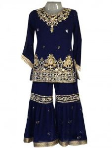 Navy Blue Georgette Festival Wear Embroidery Work Kids Sharara Suit