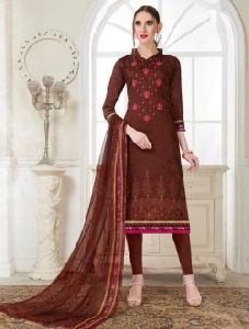 Printed Cotton Satin Fancy Churidar Suit