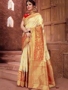 Weaving Silk Wedding Wear Zari Border Work Designer Saree
