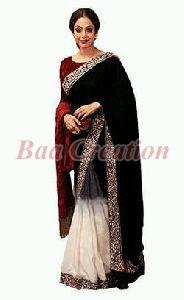 Black And White Multi Work Velvet Saree