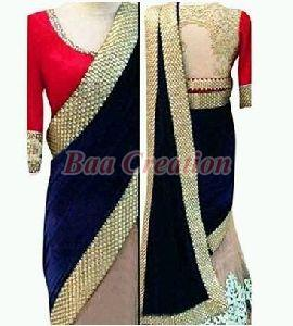Blue And Off White Embroidered Velvet Saree