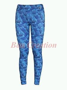 Blue Printed Cotton Sports Legging