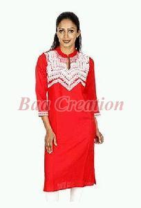 Chevron Red Cotton Embroidered Kurti