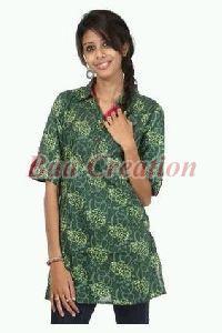 Floral Green Cotton Printed Kurti