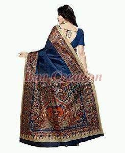 Navy Blue Bhagalpuri Silk Saree