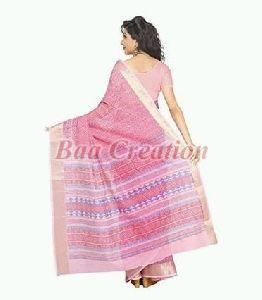 Pink Pure Cotton Saree