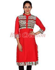 Red Cotton Printed Kurti