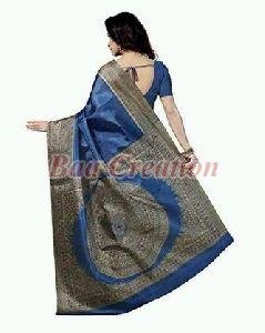 Royal Blue Bhagalpuri Silk Saree