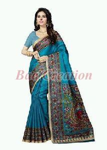 Turquoise Bhagalpuri Silk Saree