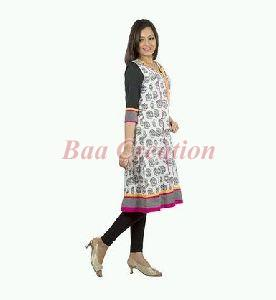 White Cotton Printed Kurti