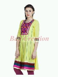 Yellow Cotton Embroidered Anarkali Kurti