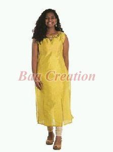 Yellow Printed Silk Kurti