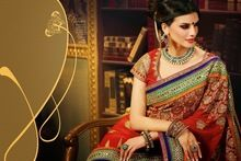 Flawless Red Wedding Embroidered Designer Saree