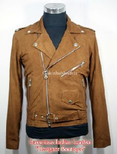 Mens Classic Brando Style Biker Suede Leather Jacket Tan Suede