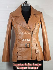 Womens Camel Sheep Leather Classic Double Breasted Coat
