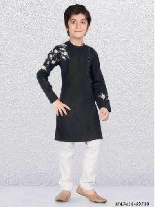 Kids Black Cotton Kurta Pajama
