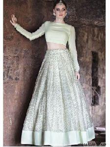 Net Embroidered Crop Tops Skirt