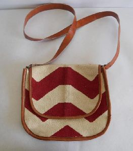 Beautiful handmade traveling dhurries hand bag