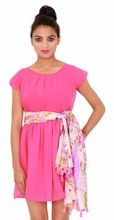 Casual Georgette Plain Dyed Pink Dress
