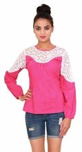 Cotton Printed Casual Pink Top
