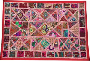 Embroidered Patchwork Bohemian Tapestry-Boho Wall Hanging