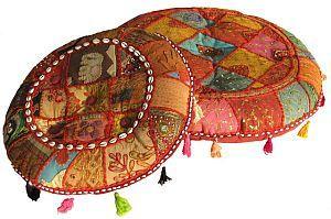 Stunning Patchwork Round Floor Throw Cushion