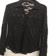 Ladies Black Polyster Lace Blouse