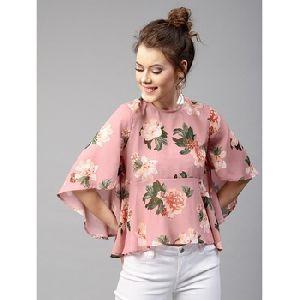 Designer Partywear Baby Pink Franch Crape Print Fancy Top