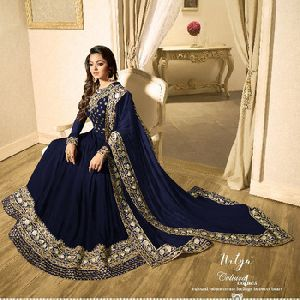 Embroidery Blue Faux Georgette Anarkali Suit