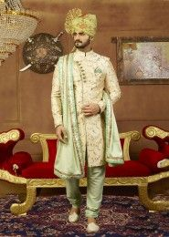 Cream Art Banarasi Silk Party Wear Embroidery Work Sherwani