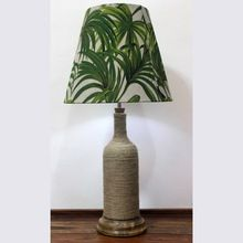 Jute Threaded Glass Lamp Holder With Wooden Base And Palm Leaf Shade