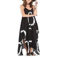 Coral Reyon Tie-dye Side-slit 100% Reyon Maxi Dress