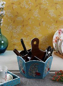 Blue Wooden Cutlery Holder