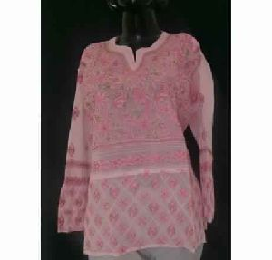 Kia Cherryblossom Pink Georgette Top Hand Embroidered