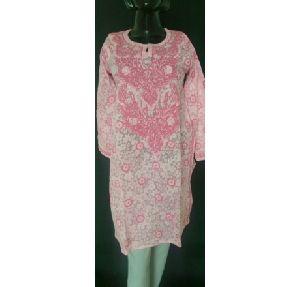 Kia Pink Printed Cotton Embroidered Kurta