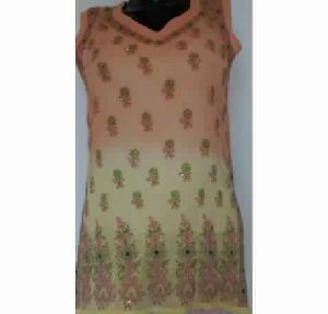 Kia Yellow Georgette With Sequins Top