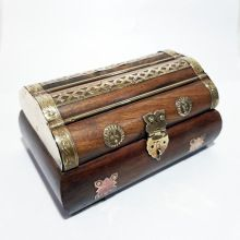 Wooden Brass Inlay Jewelry Decorative Box