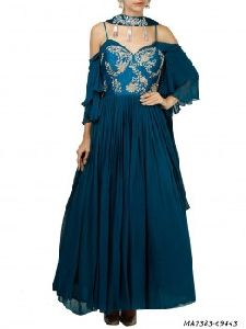 Blue Georgette Printed Ceremony Anarkali Salwar Kameez